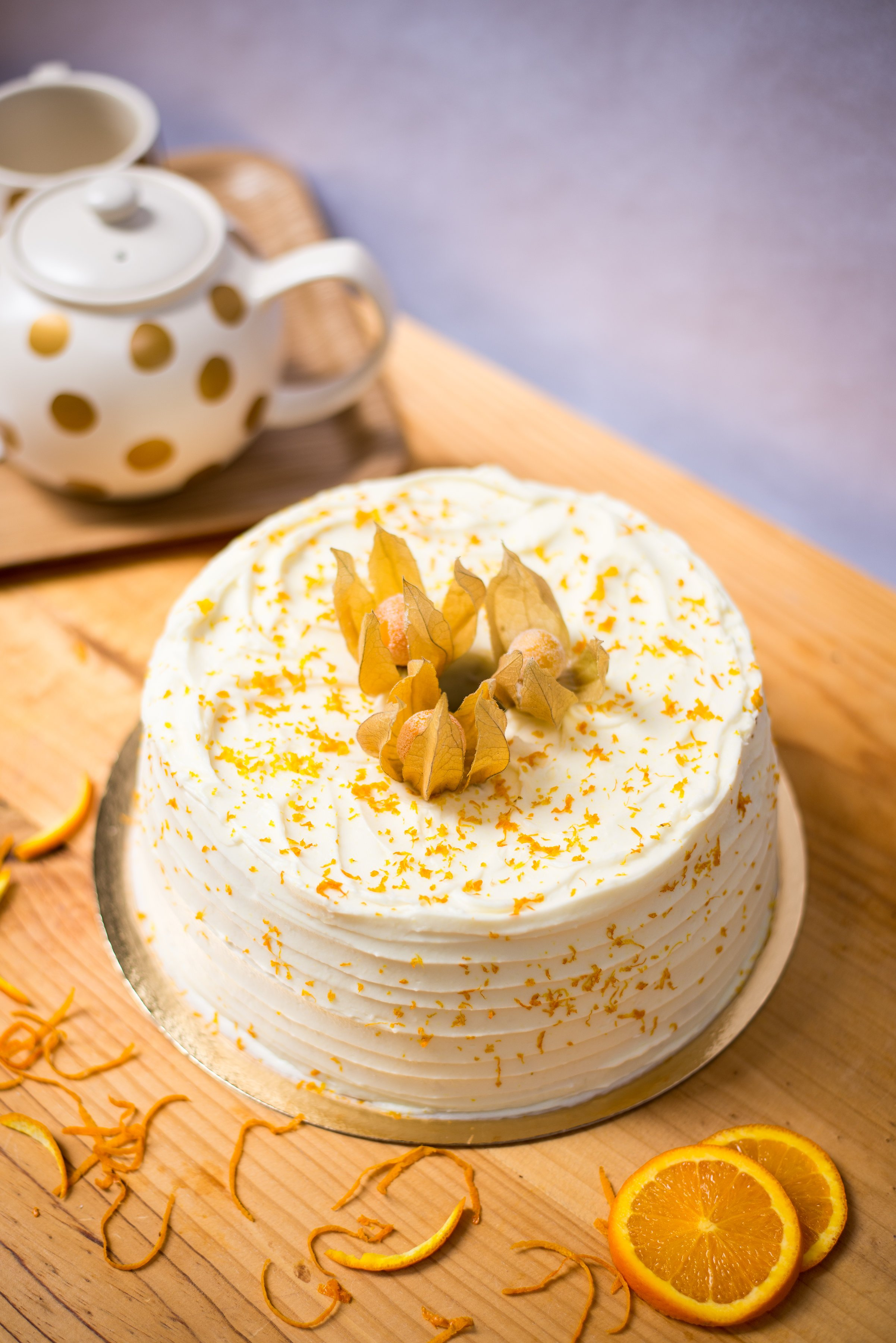<b>Angel cake de naranja </b> <br>con cobertura de queso