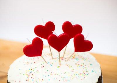 Tarta velas de corazon