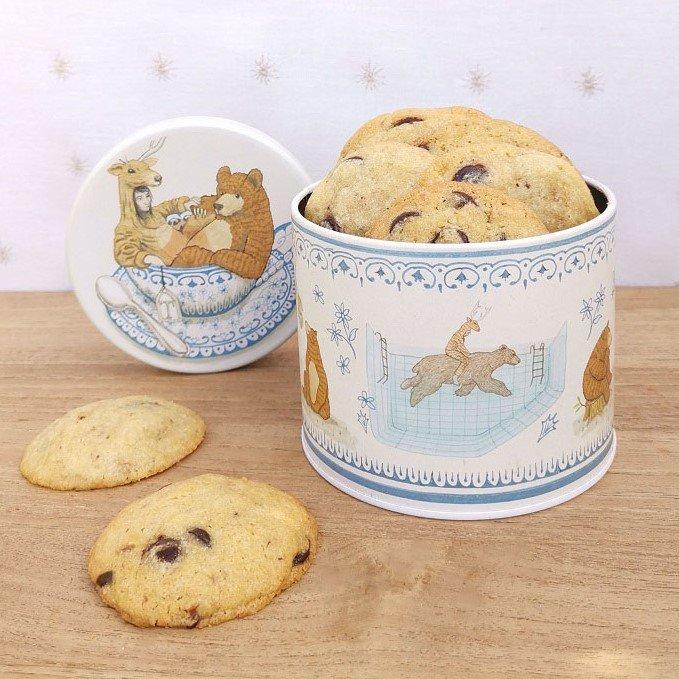 <b>Cookies con chips de Chocolate y Nuez</b> <br> en lata «La Merendona»