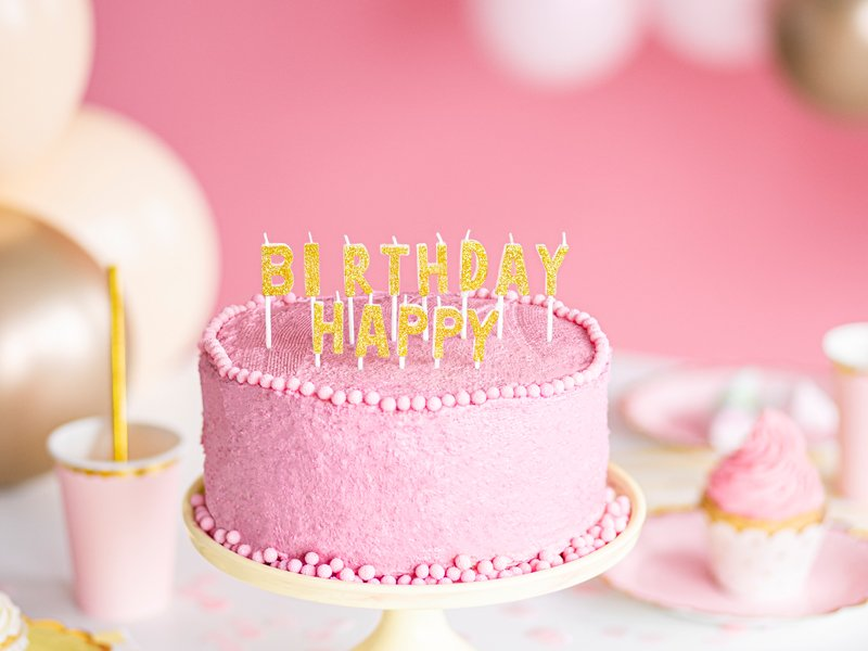 <b>Velas de cumpleaños Happy Birthday</b> <br> Dorado,13 unidades
